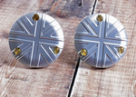 TPS Carb/Throttle Body Caps:  Union Jack Silver (Pair) Bonneville Bobber Thruxton Speed Twin.